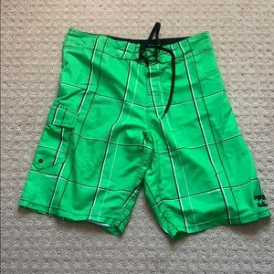 Billabong Board Shorts - Green Plaid, Size 32